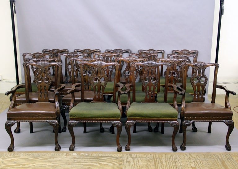 Large And Fantastic Set Of 18 Antique, Antique Dining Room Chairs