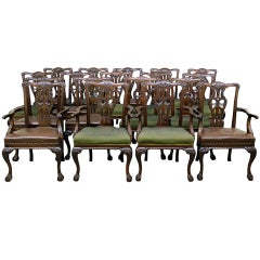 Large and Fantastic Set of 18 Antique Chippendale Dining Room Chairs