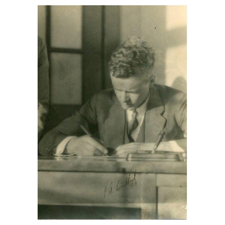 Charles Lindbergh - Vintage photograph signed