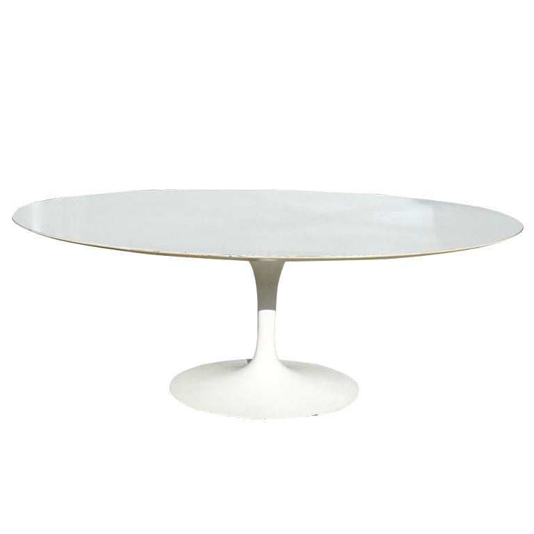 Eero saarinen oval tulip pedestal dining table knoll 1960 - Saarinen oval dining table dimensions ...