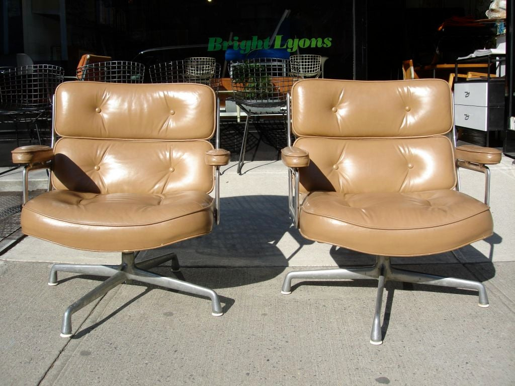 Pair Of Tan Leather Time Life Tilt U0026 Swivel Lobby Chairs Designed By  Charles Eames For