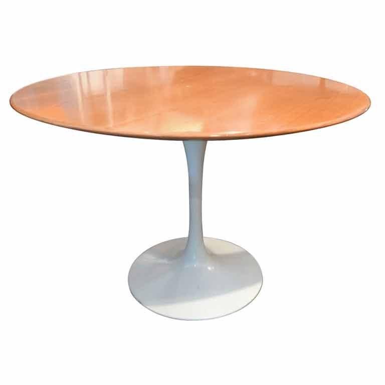 """Table Top 1955: Early Eero Saarinen 42"""" Oak Tulip Dining Table. Knoll 1955"""