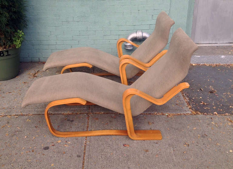 Fabric Marcel Breuer Reclining Chair(s) for Knoll, 1970