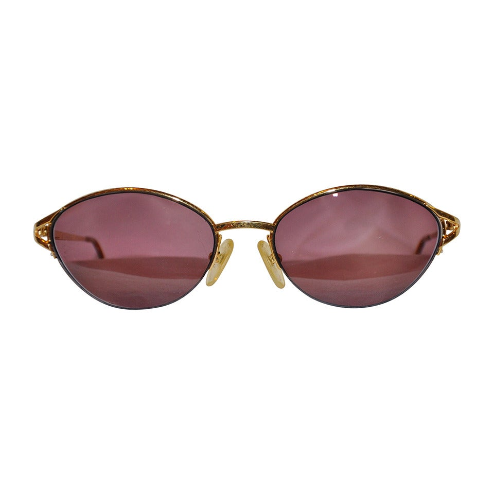 Christian Dior Gold Hardware Frame with Purple Hue Sunglasses For Sale