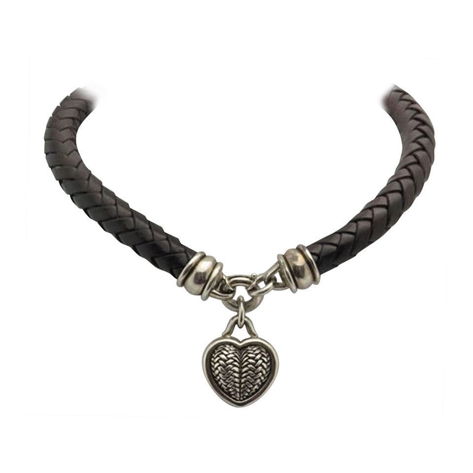 Barry Kieselstein Cord BKC Sterling Silver Heart Braided Leather Necklace For Sale
