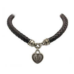Barry Kieselstein Cord BKC Sterling Silver Heart Braided Leather Necklace