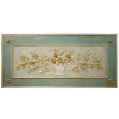 Painted French Overdoor Panel Made from Antique Door