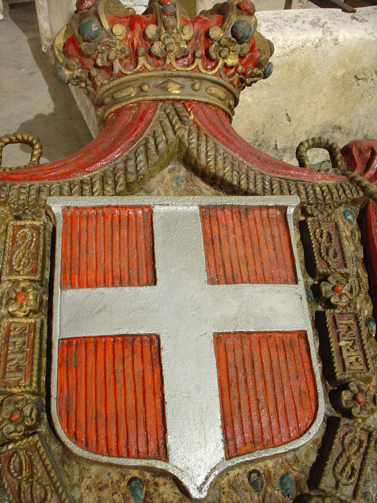 Antique Painted Cast Iron Royal Coat Of Arms Of Savoie