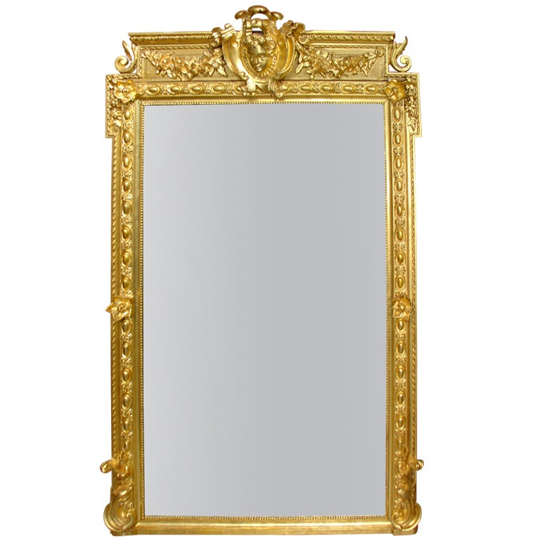Antique louis xvi style giltwood mirror from france at 1stdibs for Vintage floor length mirror