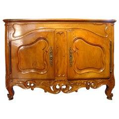 Exceptional Period Louis XV Walnut Wood Nimoise Buffet, circa 1750