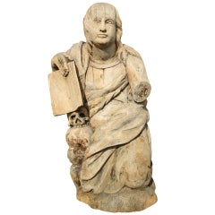 18th Century Carved Statue of Mary Magdalene
