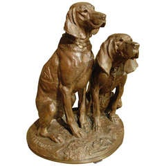 Signed 19th Century Patinated Bronze Dogs from France