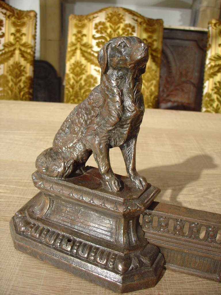 Antique French Cast Iron Fireplace Fender With Dogs C 1880 At 1stdibs