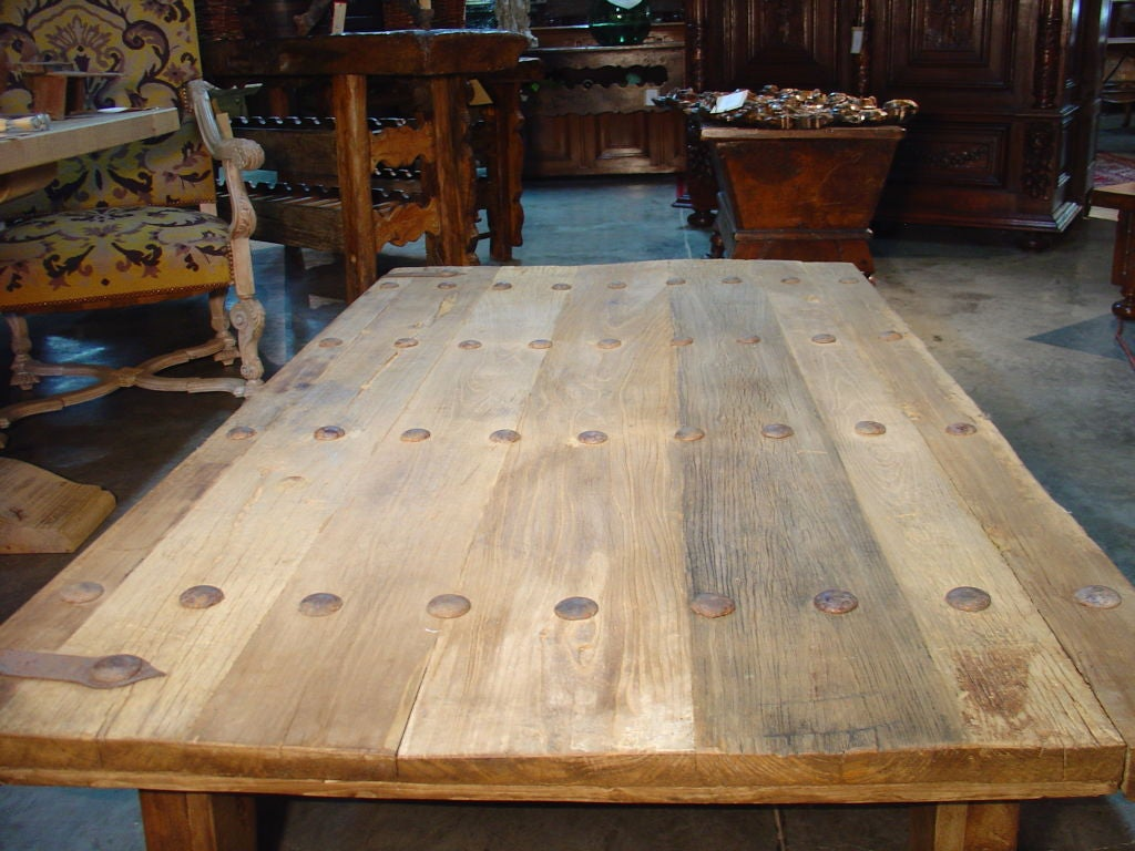 Coffee Table Made From Antique Oak Door France Image 4