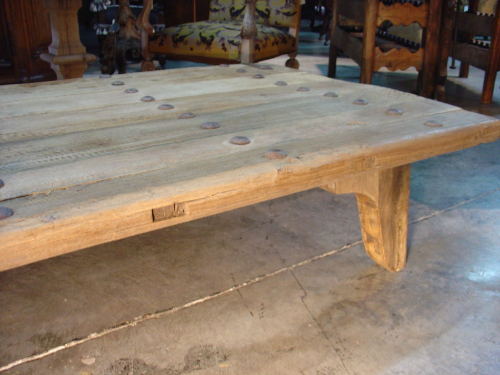 Coffee Table Made From Antique Oak Door France Image 5
