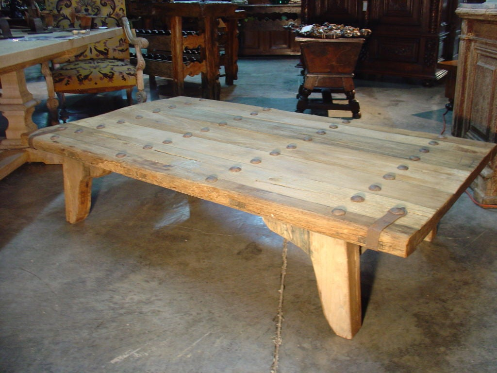 Coffee Table Made From Antique Oak Door France Image 8