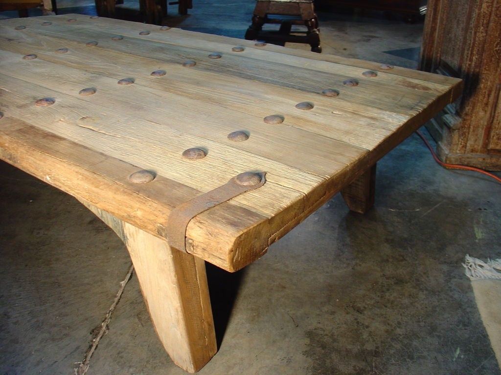 Coffee Table Made From Antique Oak Door France Image 9