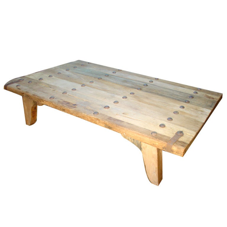 Coffee Table Made From Antique Oak Door France At 1stdibs