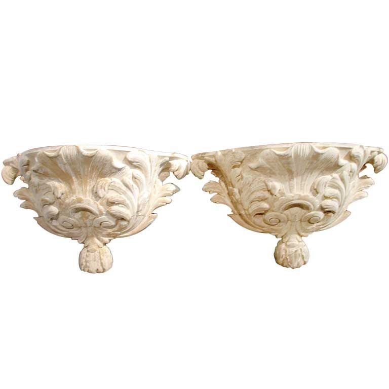 Pair of Antique French Whitewashed Wooden Brackets