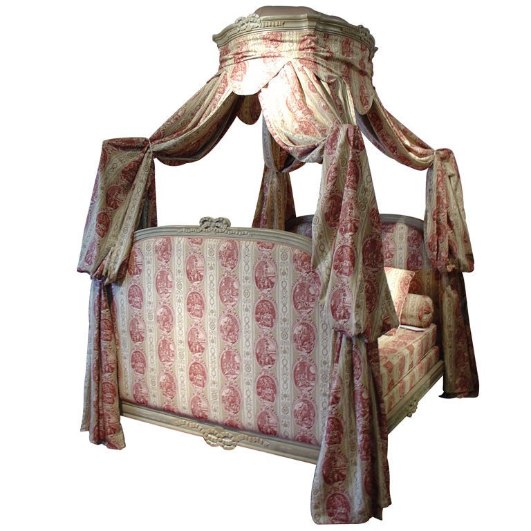 Painted Louis XVI Style Canopy Bed