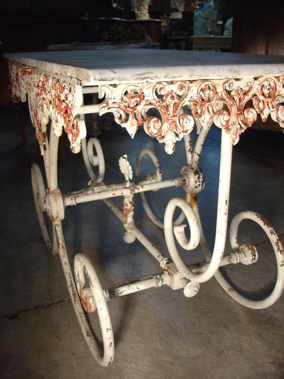 Antique Pastry Table With Ornamented Cast Iron Base And