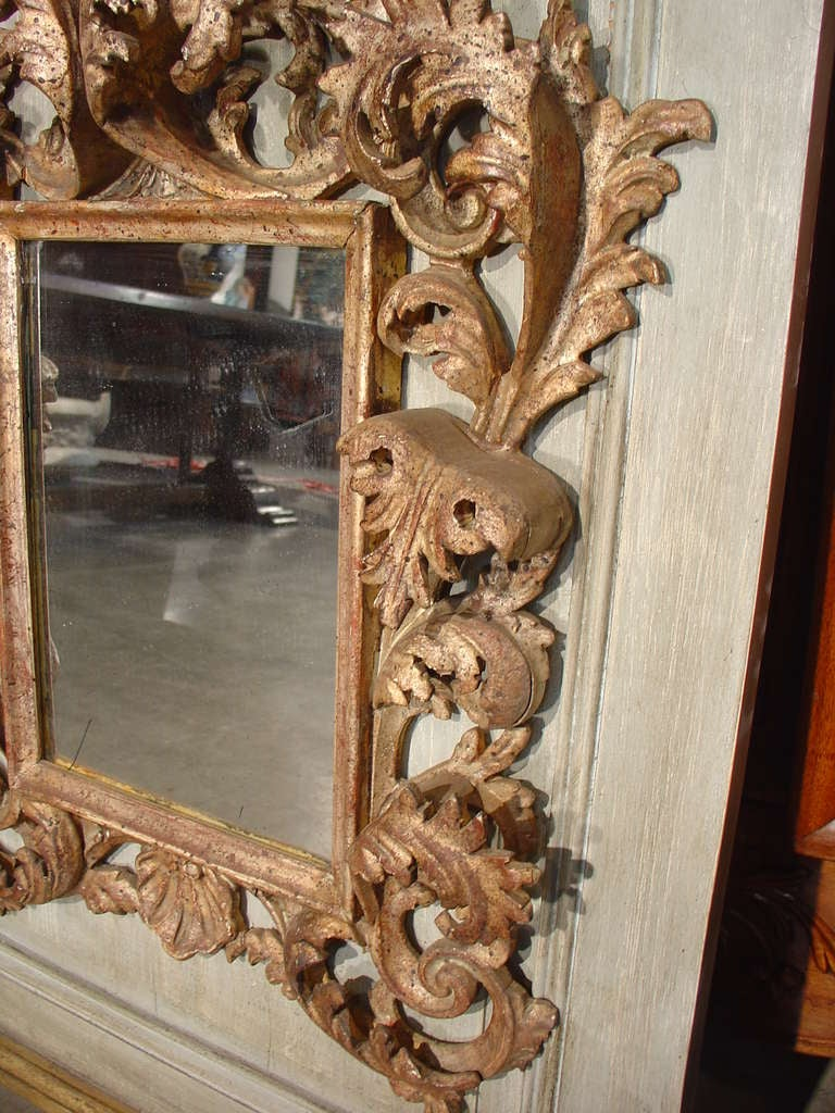 Rococo style mirror on painted antique panel at 1stdibs for Antique style wall mirror