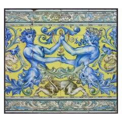Framed Antique Spanish Tiles, Early 1900s
