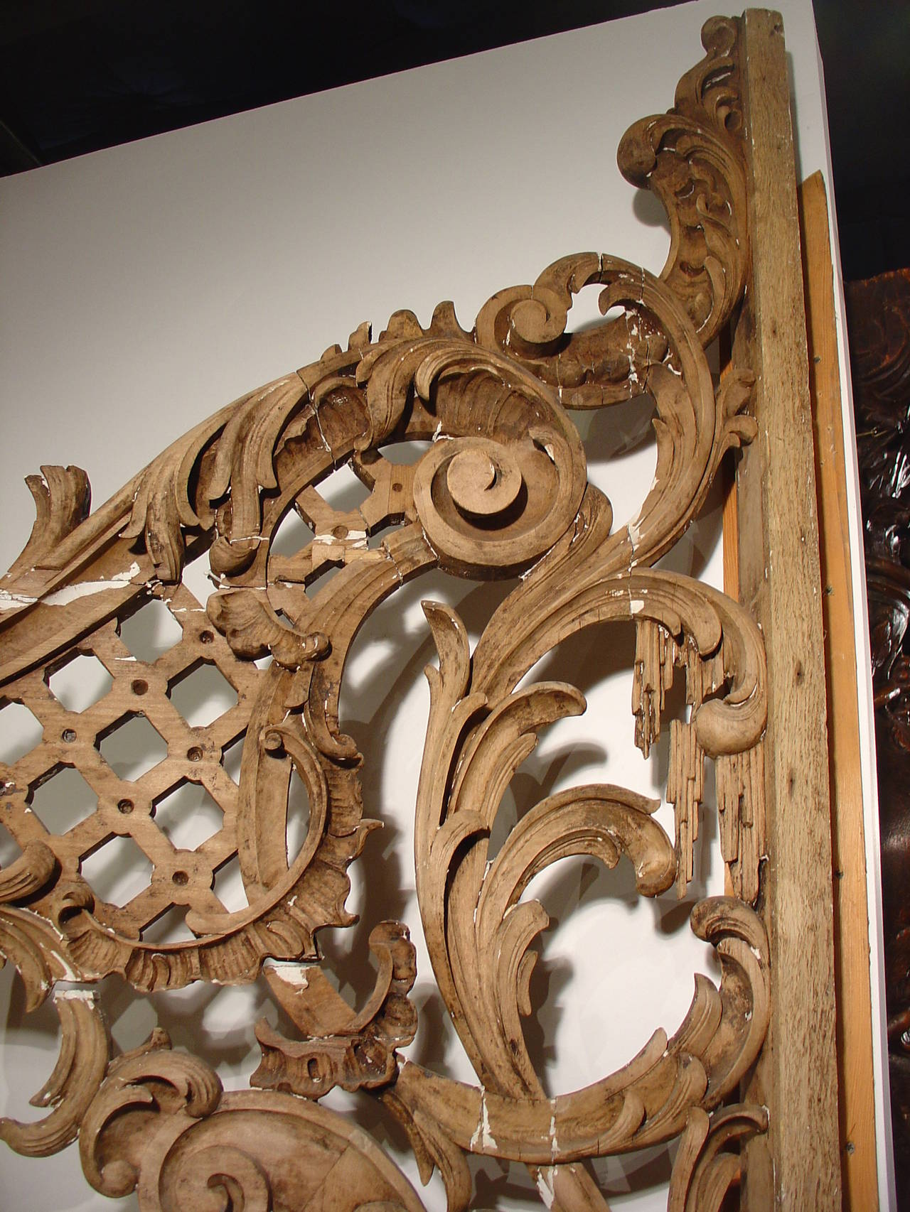 Rare pair of carved antique french walnut wood rococo