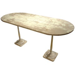 French Parcel Paint Oak Bistro Table with Antique Bases