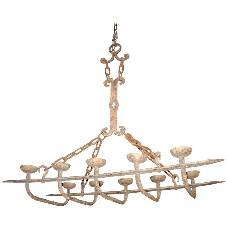 Antique Forged Iron Chandelier from France