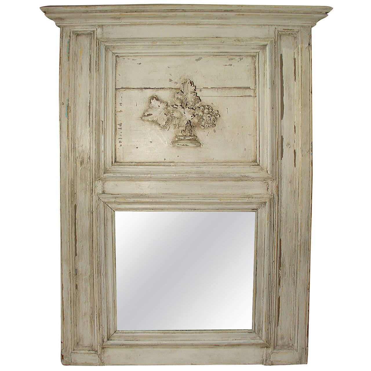 Antique french painted trumeau mirror from an 1860s for French mirror