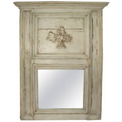 Antique French, Painted Trumeau Mirror from an 1860s French Boiserie