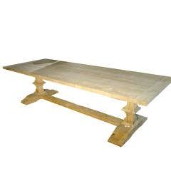 Beautifu Oak Trestle Dining Table from France-Antique Base