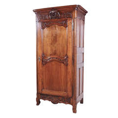 Antique Period Louis XV Walnut Wood Bonnetiere from Lyon, France