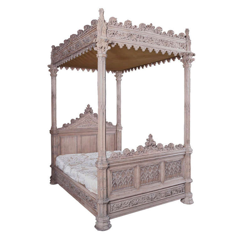 A magnificent fully carved antique french gothic bed for Gothic style beds for sale