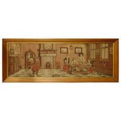 Long Oak Framed French Tapestry Depicting an Interior Scene, circa 1900