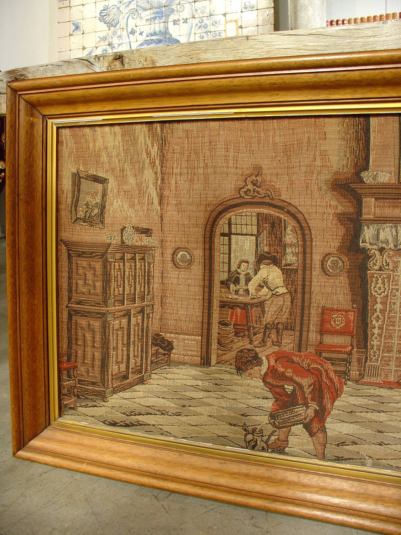 Long Oak Framed French Tapestry Depicting An Interior Scene Circa 1900 2