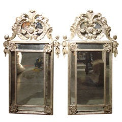 Pair of Silvered Antique Venetian Mirrors from France