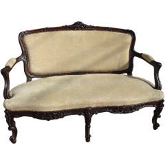 Antique Walnut Wood Settee-France 1800s