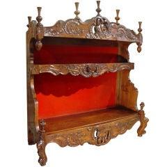 Antique French Walnut Wood Estagnier (Plate Rack)