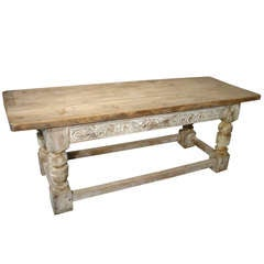 Antique French Oak Table- Partial Whitewash, C. 1900