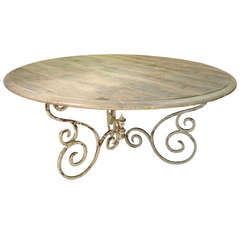 Round Antique Wood and Iron Dining Table from France