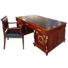 Empire Style Mahogany Ormolu Partners Desk with Chair