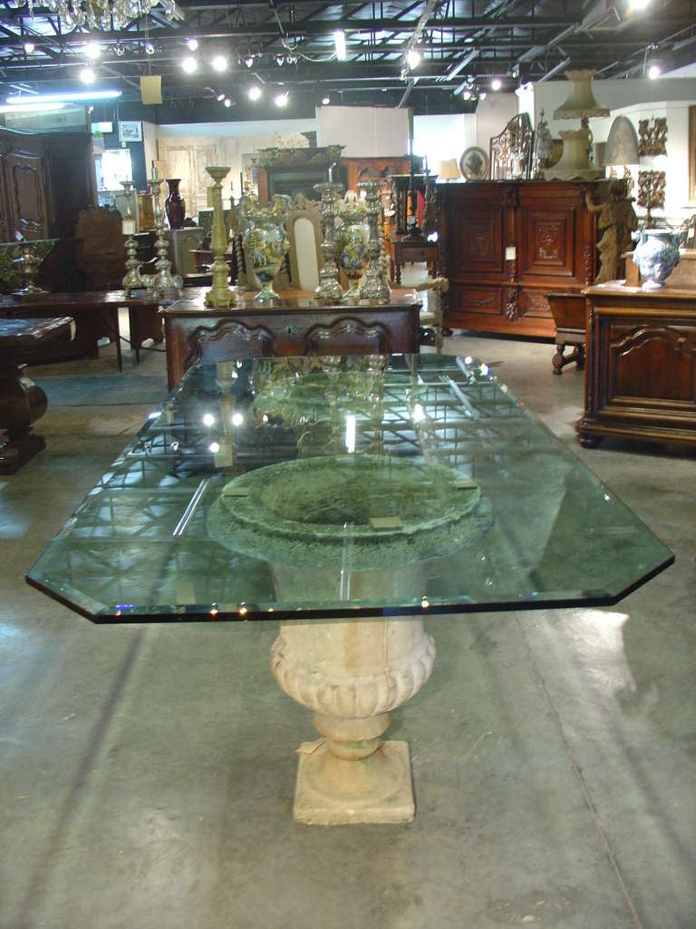 Beveled Glass Table Top On Antique French Stone Urns For
