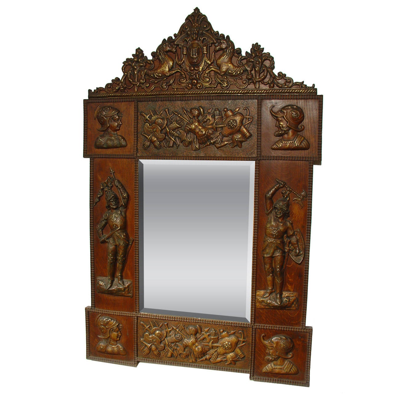 Antique Military Trophy Mirror From France Early 1900s At