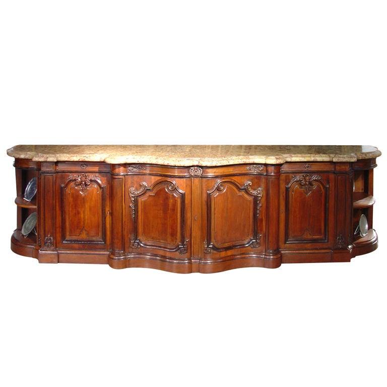 massive marble topped walnut wood louis xv style chateau buffet 1