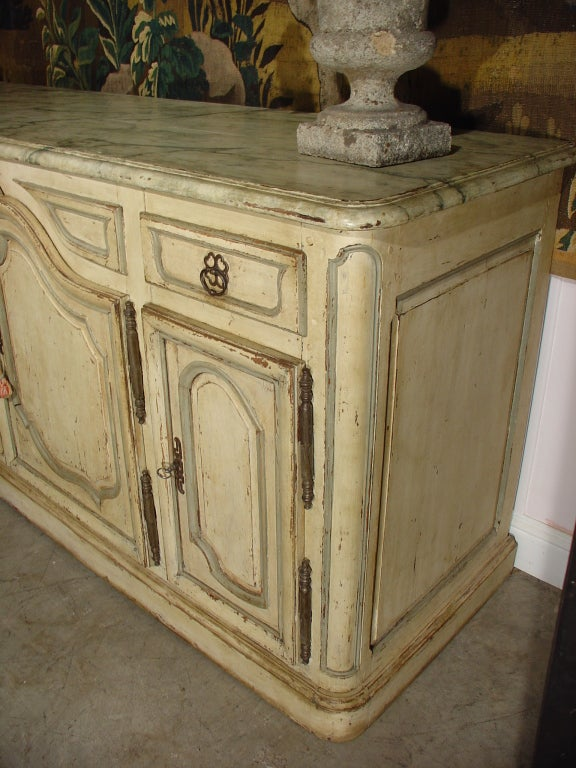 Louis Xv Style Painted Enfilade With Faux Marble Top Late