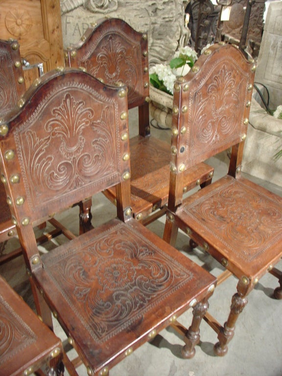 Set Of Six Antique Embossed Leather Portuguese Chairs At