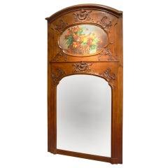 19th Century Oak Louis XV Style Trumeau Mirror