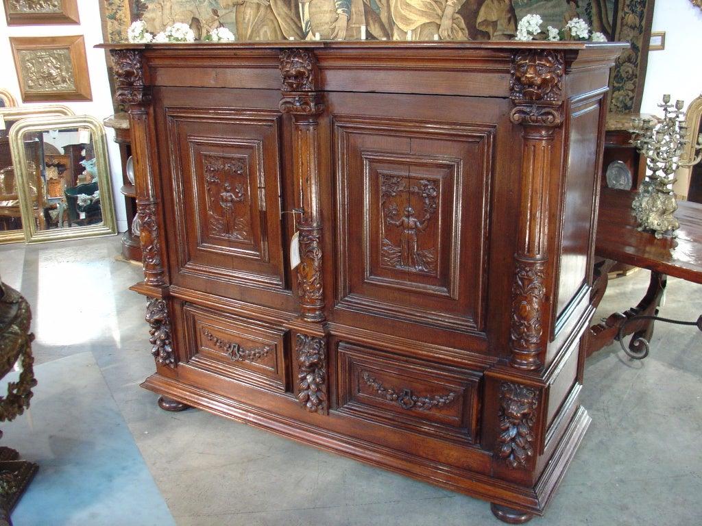 Antique Oak Renaissance Style Cabinet from France, C. 1895 For ...